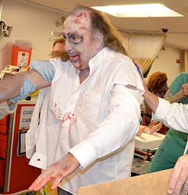 Zombie in hospital simulation.