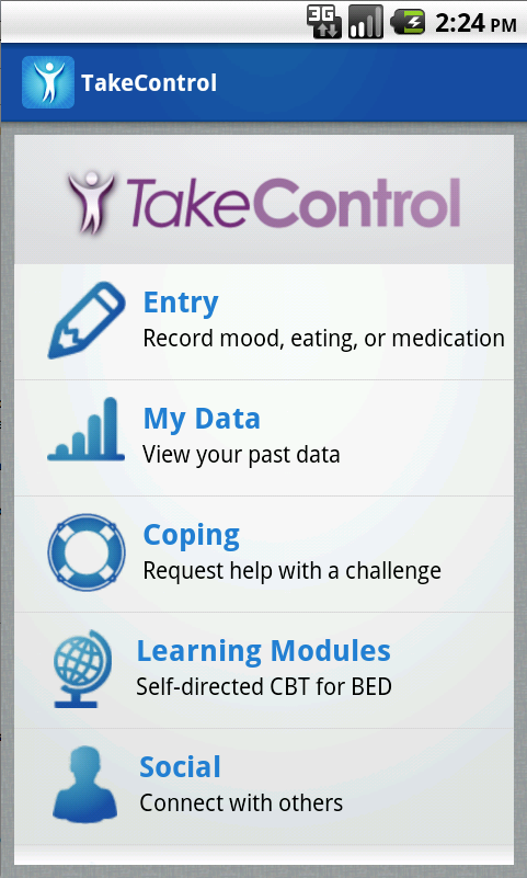 TakeControl binge eating app home screen