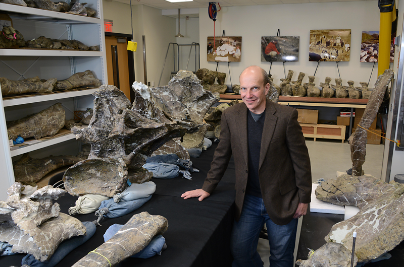 Kenneth Lacovara, PhD, stands in his lab among the bones of the exceptionally complete dinosaur skeleton he discovered in Patagonia.