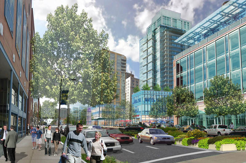 Rendering of some of the Innovation Neighborhood