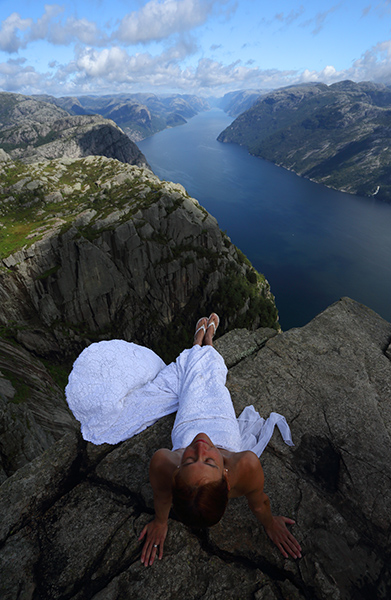 Jennifer Salvage on a cliff in Norway.
