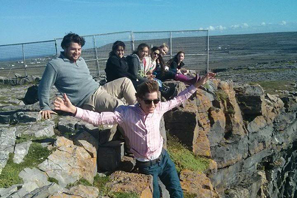 Students on cliffs in Ireland
