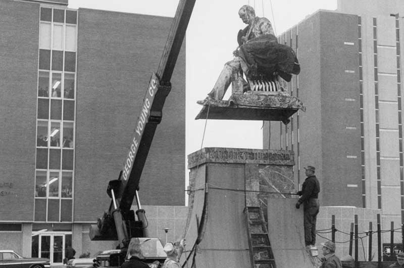 Drexel statue being relocated