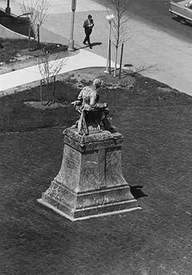 The Drexel statue in its former location, near the 33rd Street trolley entrance.