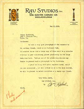A 1922 letter from the records of Hollis Godfrey, Drexel's second president.