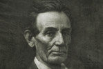 Abe Lincoln wood carving print