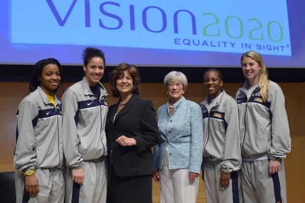 Vision 2020 Co-Chairs Lynn Yeakel and Rosemarie Greco with the Women's Basketball Drexel Dragons.
