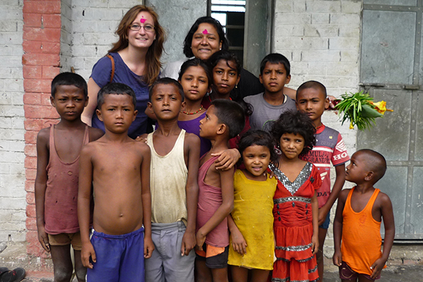 Carmen Cronin with children in Nepal