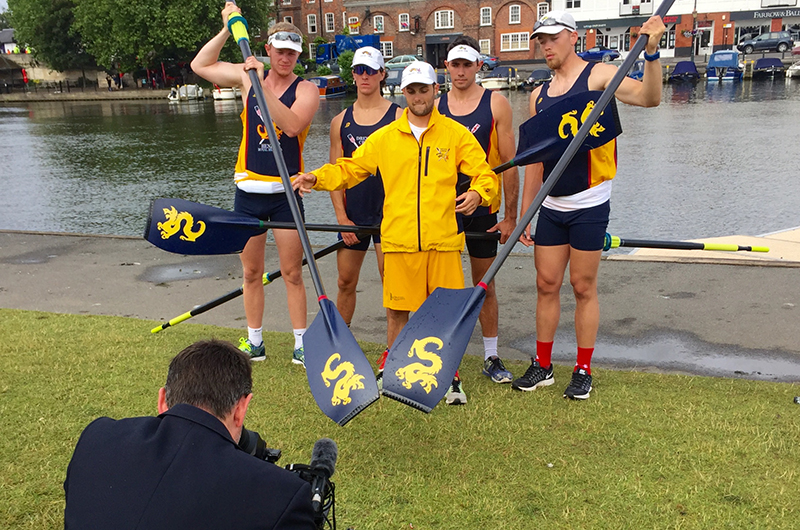 The Henley Drexel four with cox posing for British television.