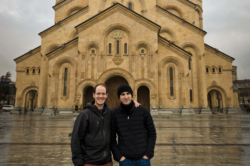 Alex Krengel and Guram Gotsadze outside the Sameba Cathedral in Tbilisi.