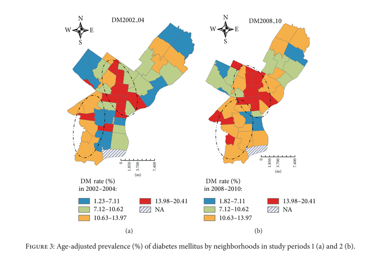 Maps show the prevalence of diabetes in Philadelphia zip codes in 2002 and 2010.