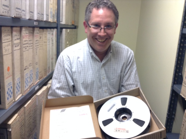 Drexel's Toby Seay, holding a David Bowie tape. Photo by Alissa Falcone.
