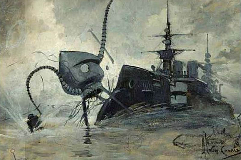 "This illustration for the novel ""The War of the Worlds"" by H.G. Wells shows a Martian fighting-machine battling with the warship Thunder Child."