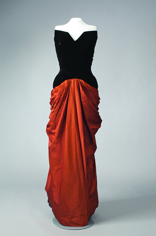 Charles James Bustle evening gown, circa 1948, USA, Gift of Mrs. William S. Paley. Photograph by Will Brown.