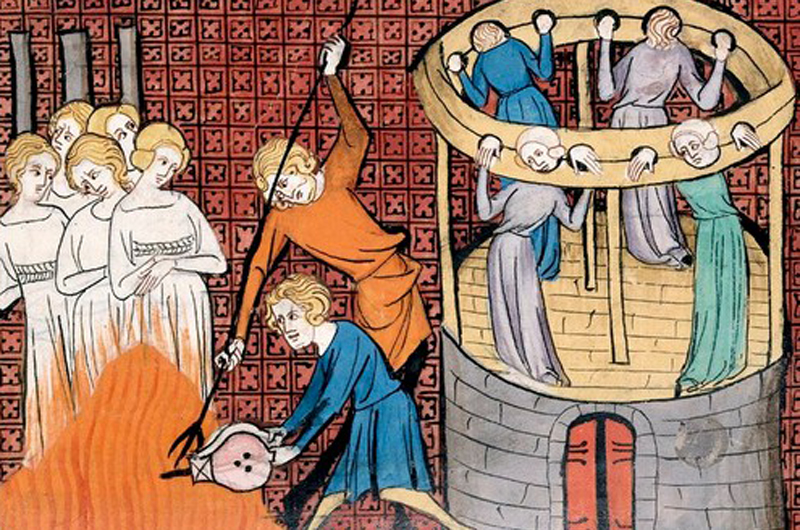 Fourteenth century depiction of the torturing and execution of witches
