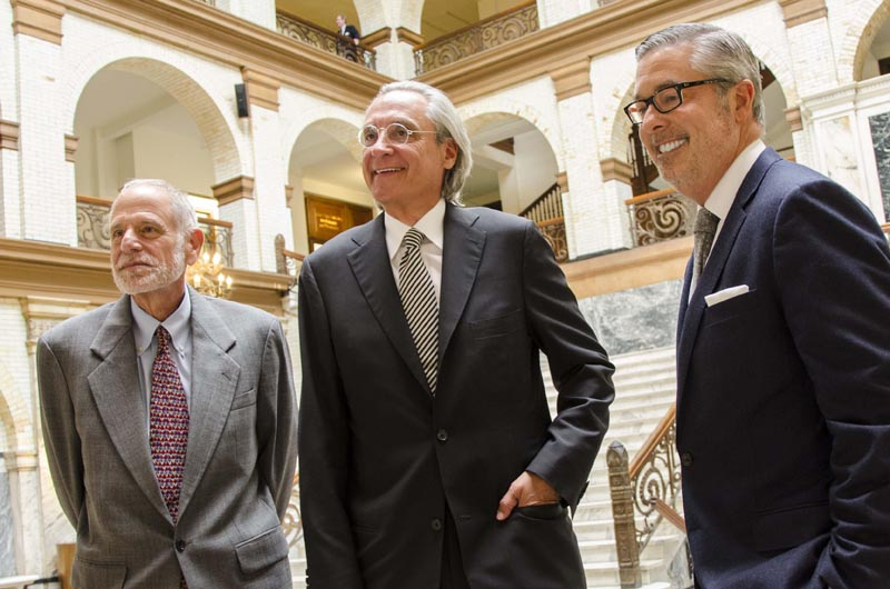 Dean Roger Dennis, Thomas R. Kline and President John A. Fry (L-R) in Drexel University's Main Building. Photo credit: Ben Knisley.