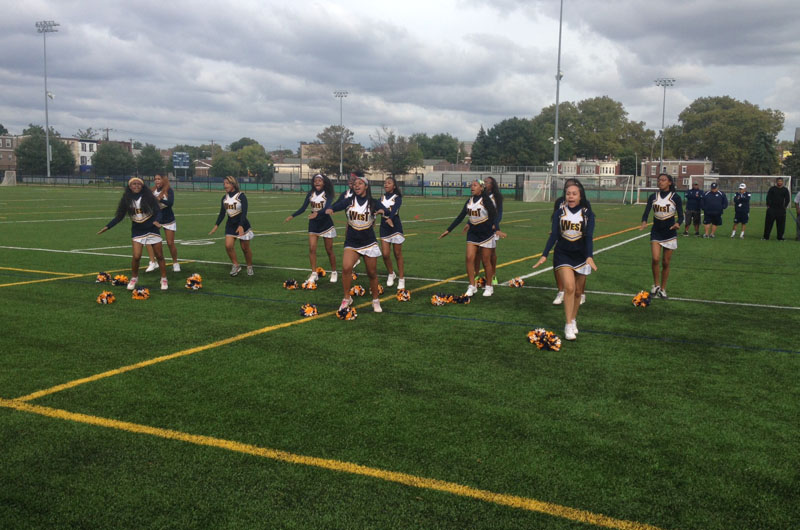 West Catholic Prep cheerleaders at Maguire Field