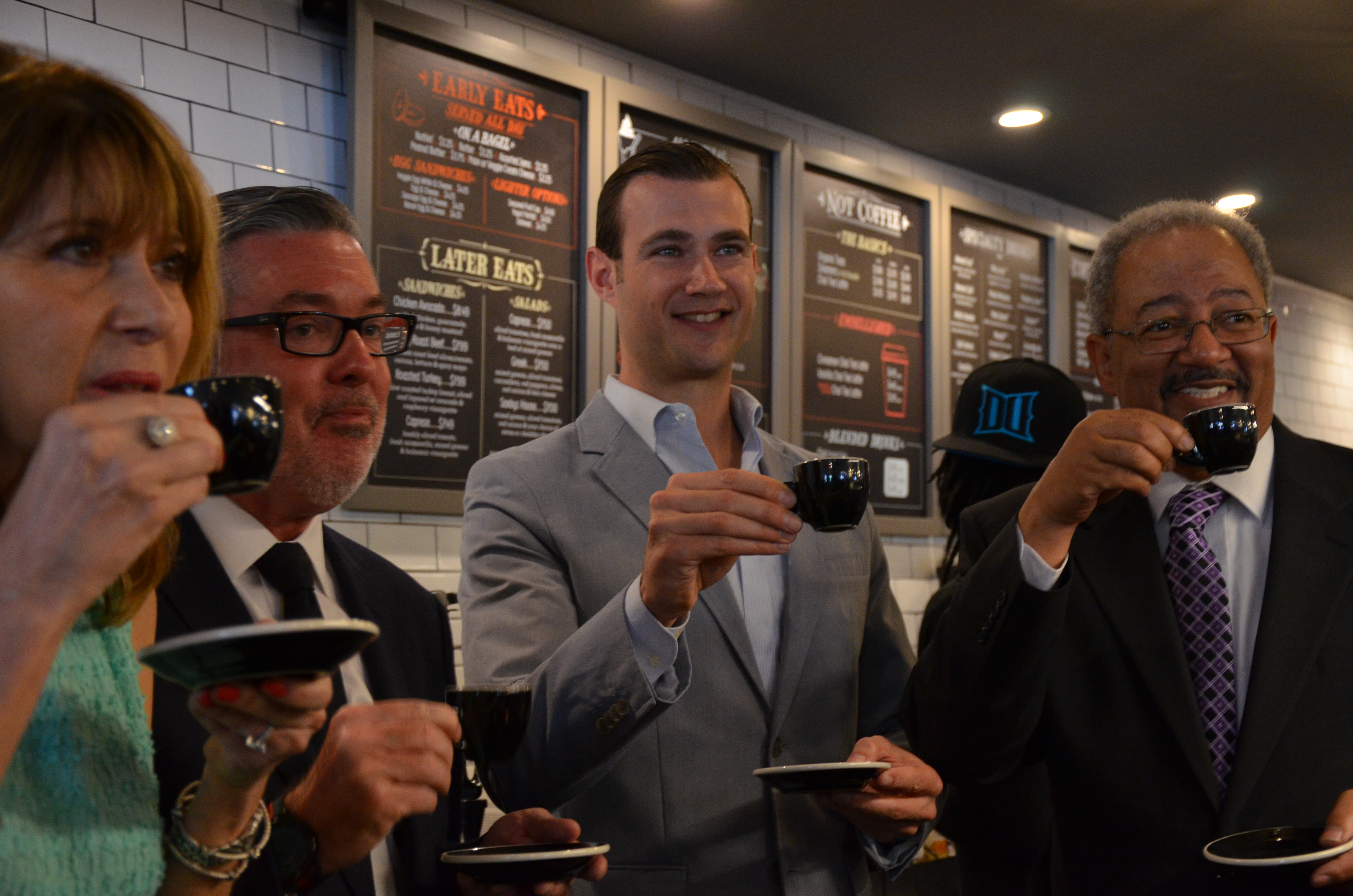 Close School of Entrepreneurship Dean Donna De Carolis, President John Fry, Saxbys Coffee CEO and founder Nick Bayer and U.S. Congressman Chaka Fattah sipped the first espressos served at Drexel's new Saxbys.