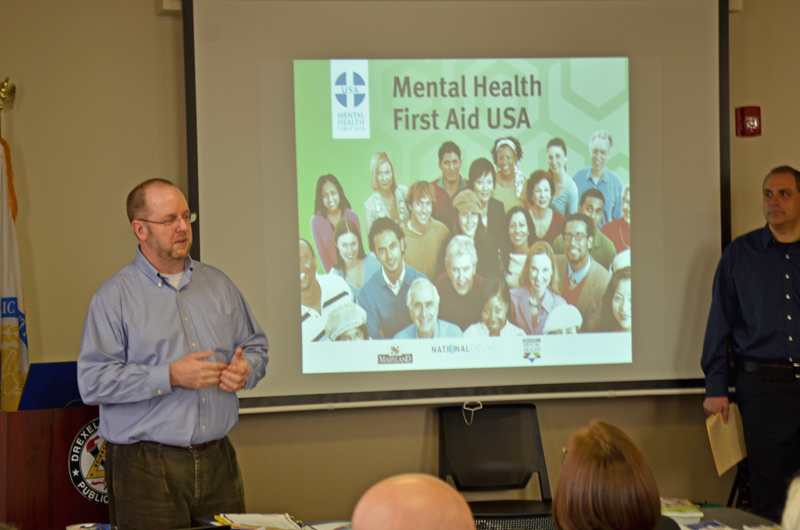 Paul Furtaw leads Mental Health First Aid training for the Drexel University Police Department.