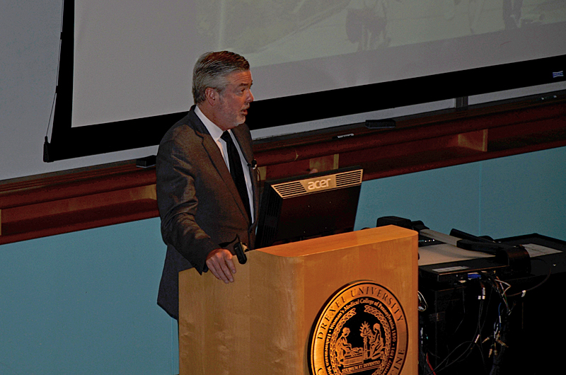 President Fry speaking during the third town hall of 2015 on the University's refreshed strategic plan.