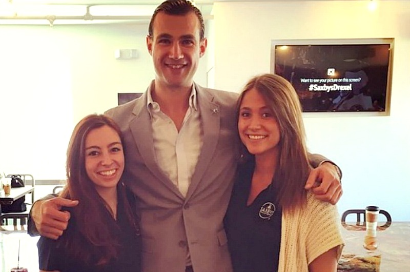 Kelsey Goslin and Meghan Regan with Nick Bayer, CEO and founder of Saxbys Coffee, on the opening day of Drexel's Saxbys.