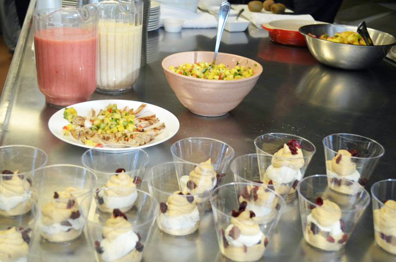 Students made smoothies, salsas and mousse with surplus fruits and vegetables.