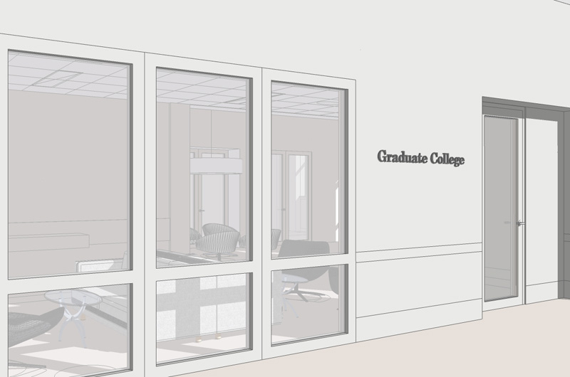 Rendering of the design for the new Graduate College offices. Courtesy of CDA&I Architecture and Interiors.