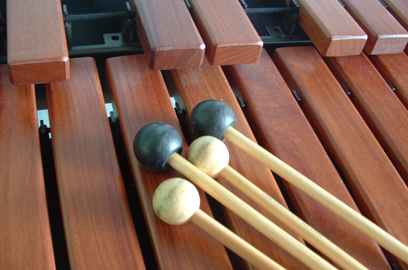Xylophone with percussion sticks.