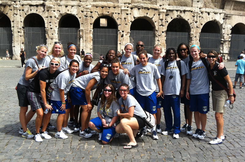 The Drexel women's basketball team during their last international trip to Italy.
