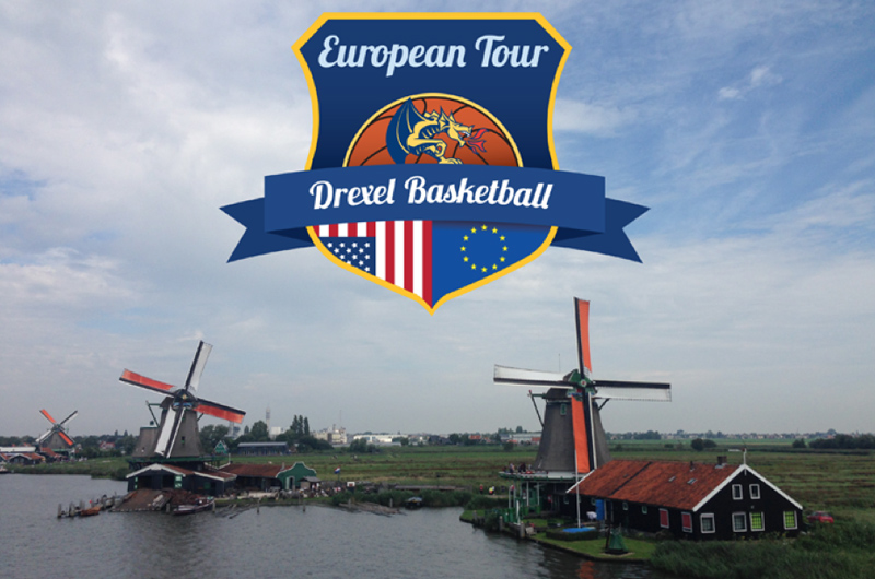 The logo for the women;s basketball team's trip to Europe overtop a scene of the Dutch countryside with windmills.