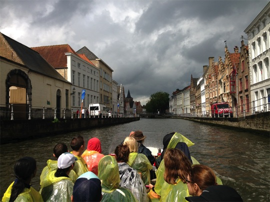 A team boat ride in Bruges, Belgium, one of Europe's largest historic seaports. Photo courtesy of Drexel Athletics.