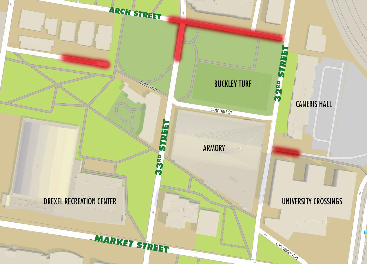 A map showing the areas where food trucks will be allowed on Drexel campus, including Arch Street between 33rd and 32nd street and several access roads.