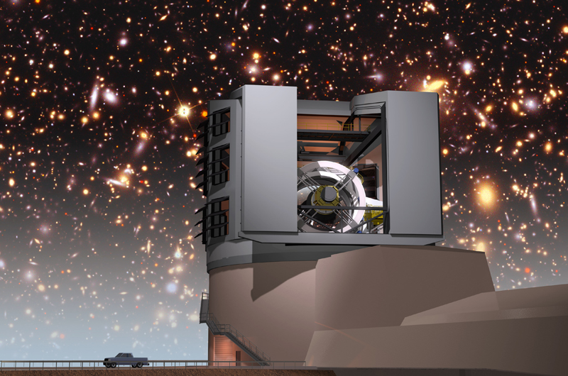 The LSST in its facility building with the night sky. Courtesy of the LSST Corporation.