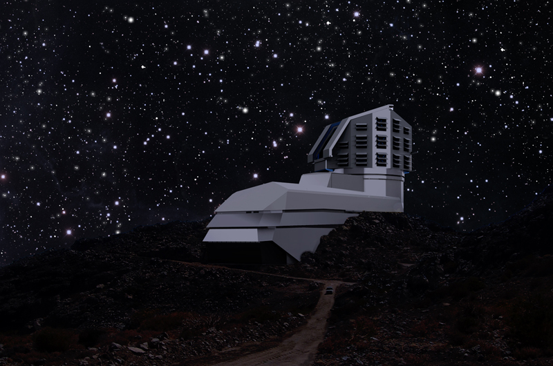 A mixture of photo and rendering showing the LSST facility building sitting on the Cerro Penchón ridge in Chile. Courtesy of the LSST Corporation.