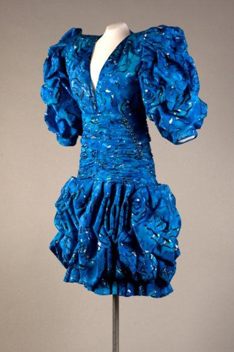 Emanuel Ungaro Couture, blue printed silk, c. 1986, France. Gift of Elizabeth Graham Weymouth.