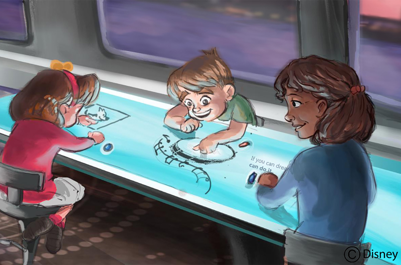 "More concept art of ""Woollahra"" depicting the experience of riders aboard a train. Photo by Gary Krueger, copyright Disney."