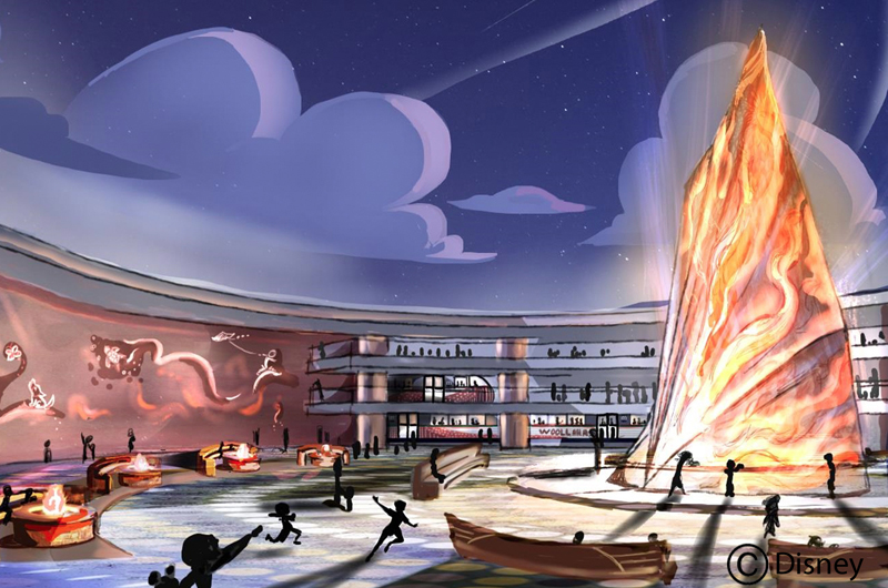 "Concept art by Drexel students of the main station for their Imagineering competition idea, ""Woollahra."" Photo by Gary Krueger, copyright Disney."