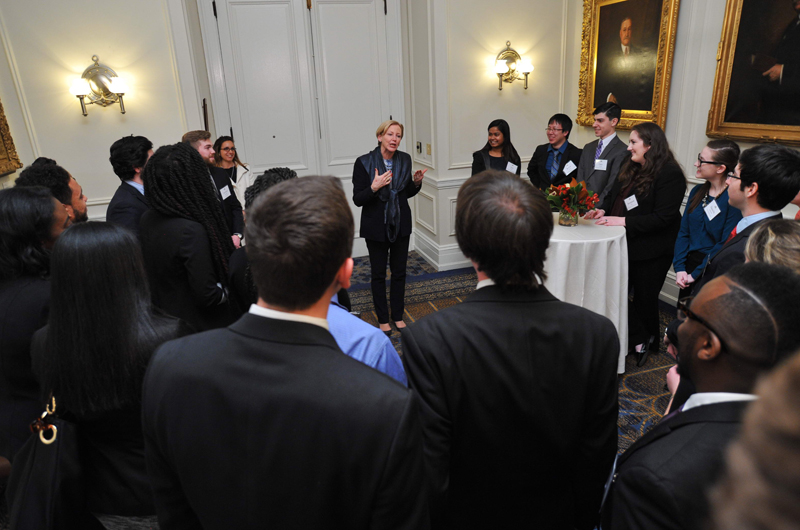 Interested in meeting Drexel's engineering students, Kullman had a private discussion with a group of them after the event. Photo by David Gehosky.