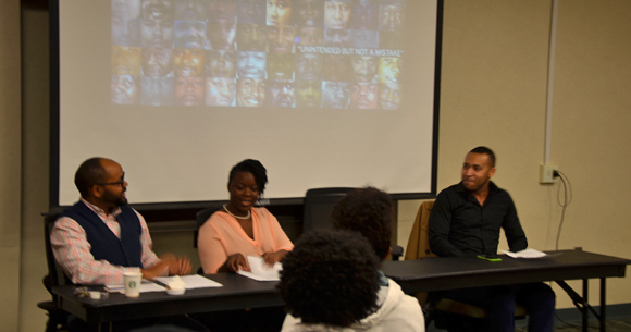 The Black Lives Matter panel, featuring (from left to right) Drexel Professor André Carrington, PhD, Rutgers Professor Khadijah Costley-White, PhD, and Drexel Professor Lallen Johnson, PhD.
