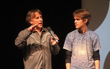 """Boyhood"" director Richard Linklater with the film's young star, Ellar Coltrane"