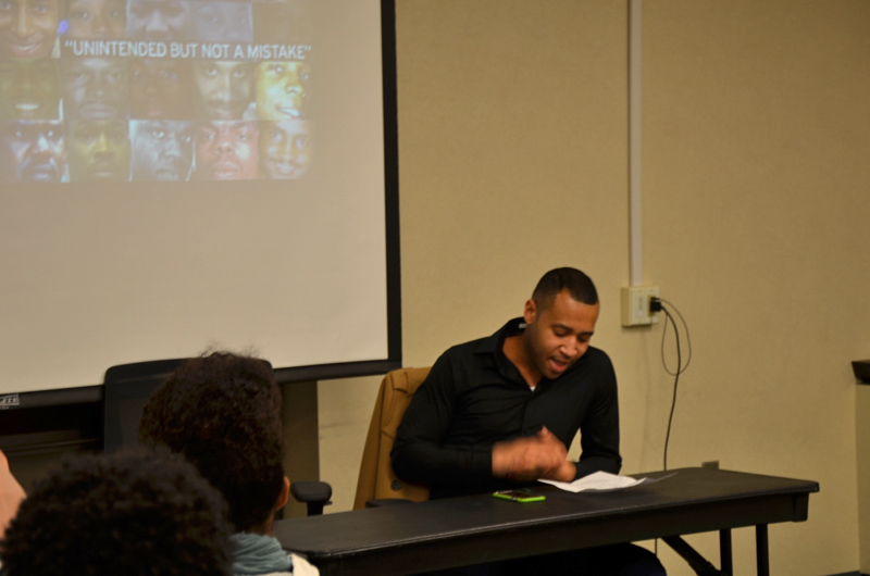 Lallen Johnson, PhD, Drexel criminology and justice studies professor, speaking during the #BlackLivesMatter panel.