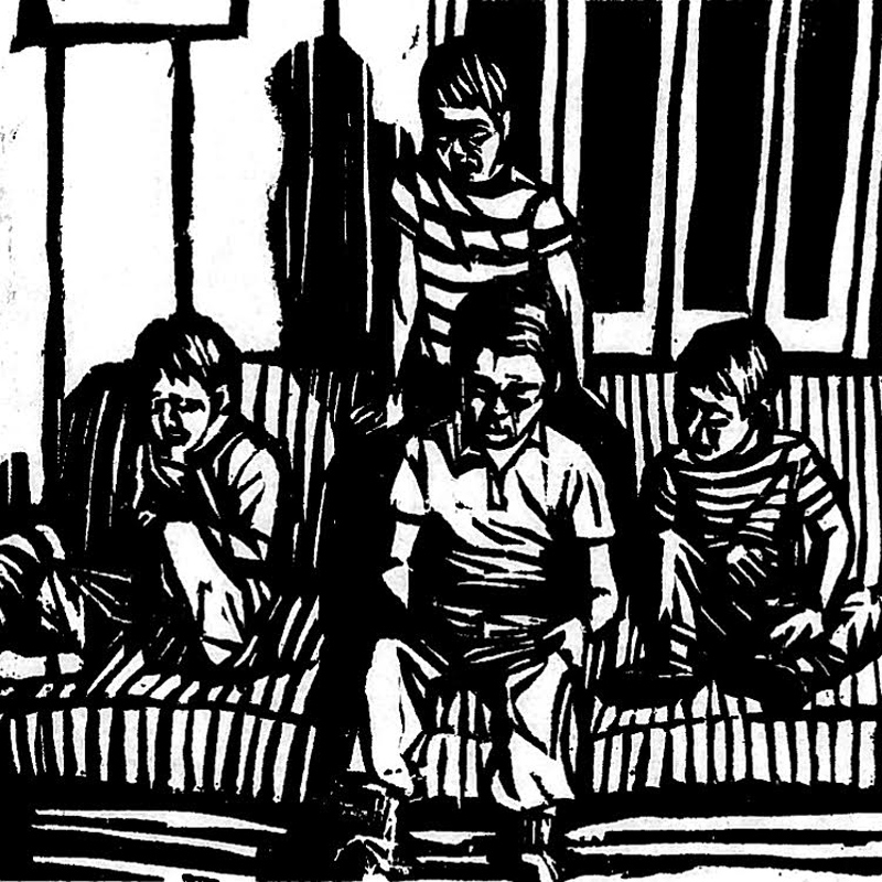 """Four Brothers,"" by Leila Bateman, woodblock print."