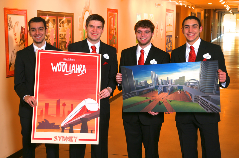 Drexel's team for the Imaginations Design Competition, from left to right, Ahmad Jamal, John VanZelst, Justin Petronglo and Bader Al Moulah. Photo by Gary Krueger, copyright Disney.