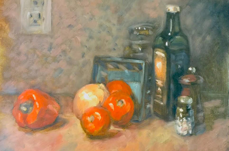 """Still Life With Vinegar,"" by Aubrey Brown, oil on canvas board."
