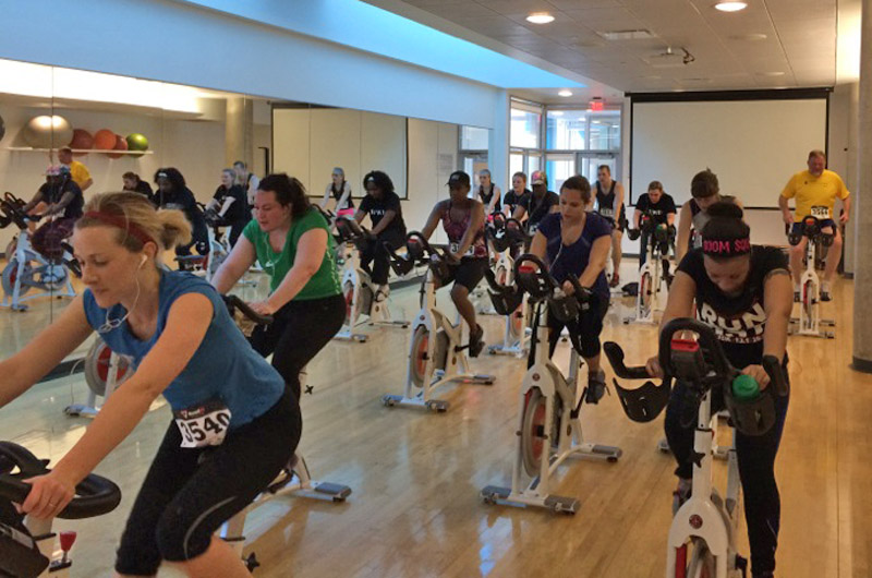 Participants in last year's Indoor Triathlon/Duathlon during the cycling portion.