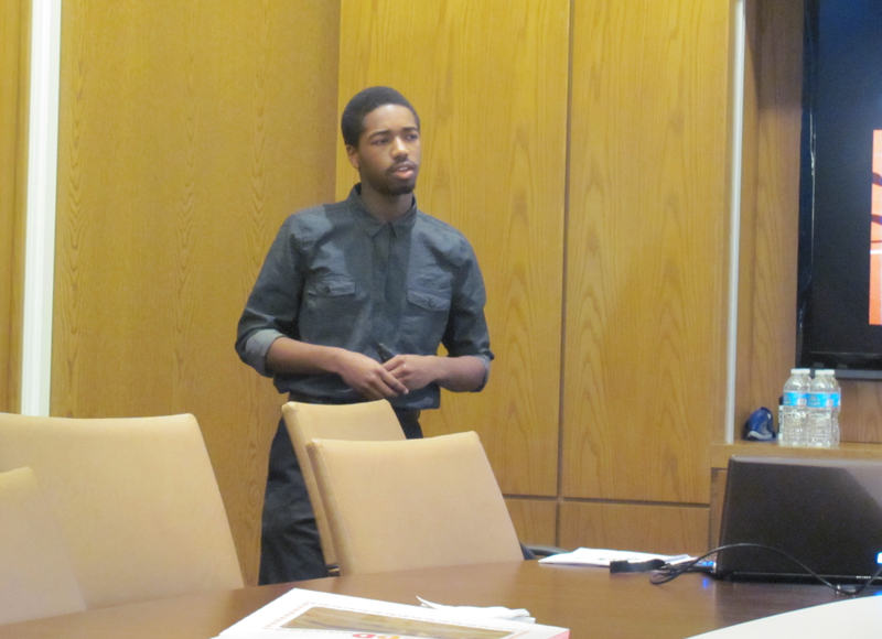 Joshua Williams, a junior from George Washington Carver High School of Engineering and Science, presents on his experience as a WesGold Fellow to Drexel faculty and staff.