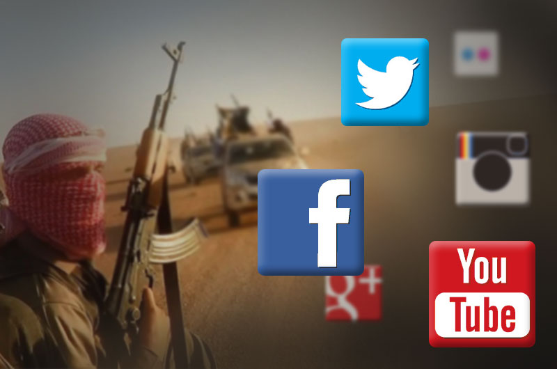 Masked man holding an assault rifle with social media icons nearby.