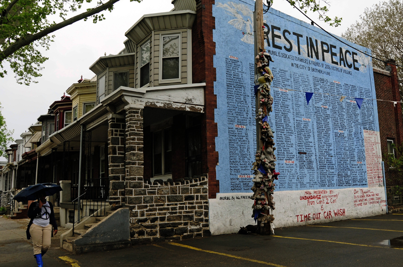A memorial for victims who died in incidents of violence in Philadelphia. Photo: Tony Fischer, CC BY 2.0
