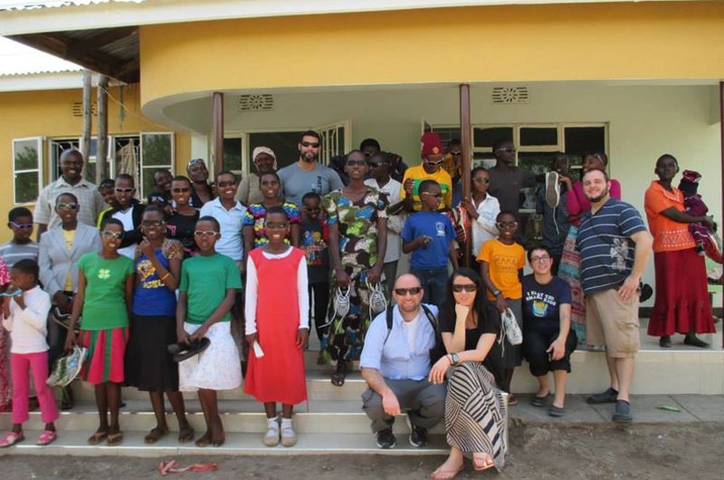 A Tanzanian orphanage where Diaz delivered donations of shoes before climbing Mount Kilimanjaro.