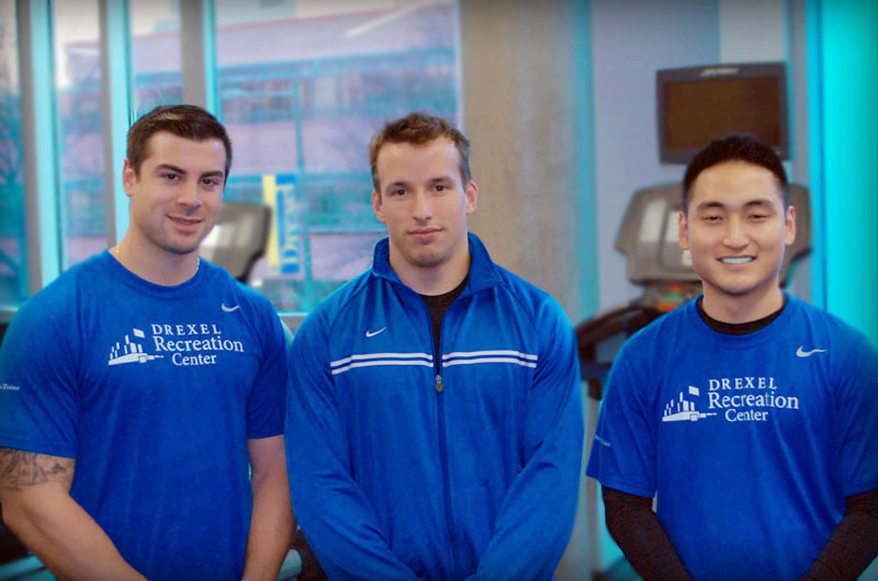 Personal trainers from the Drexel Recreation Center, from left, Chris Campli, Joe Giandonato and Chris Lee.